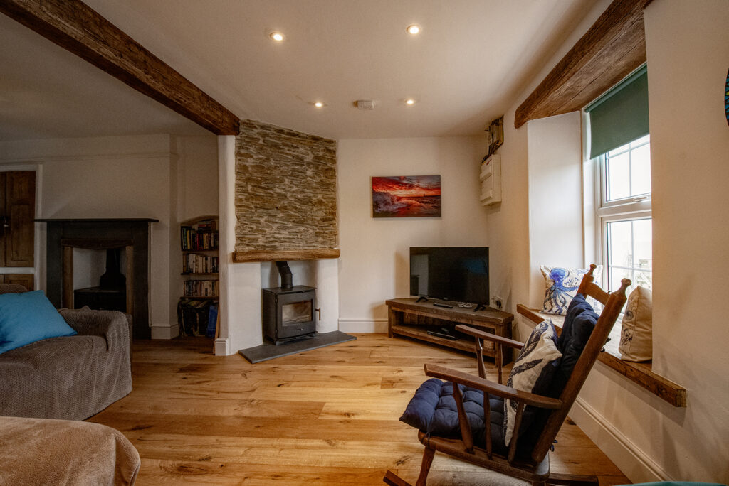 Coastguards View, Mevagissey - comfortable lounge area with large flat screen TV